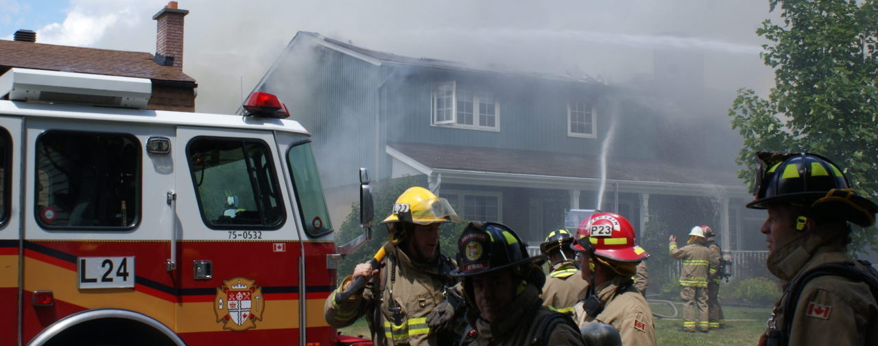 Ottawa firefighters battle house fire.