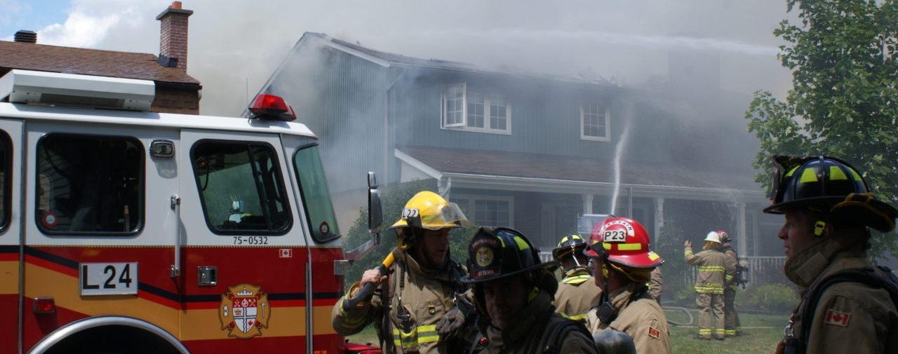 Ottawa firefighters battle house fire.