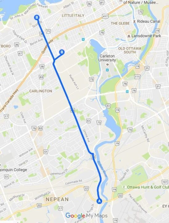 Map from Prince of Wales Dr. to Ottawa Civic Hospital current, and proposed sites.