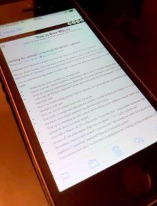 iPhone displaying webtext