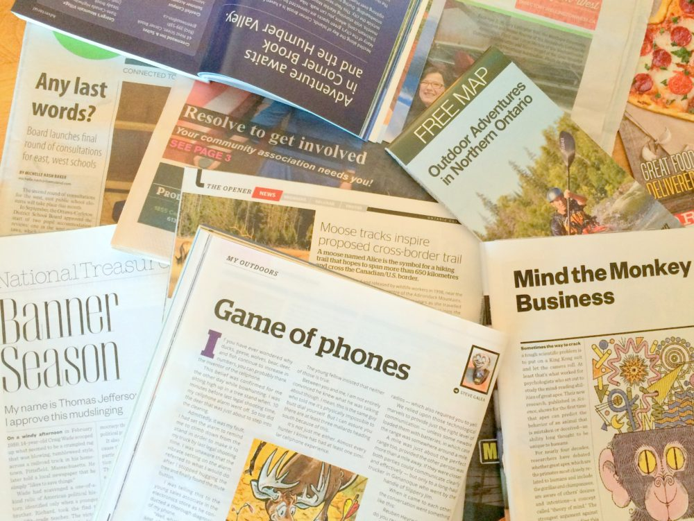 Headlines and headers from magazines, newspaper and other publications.