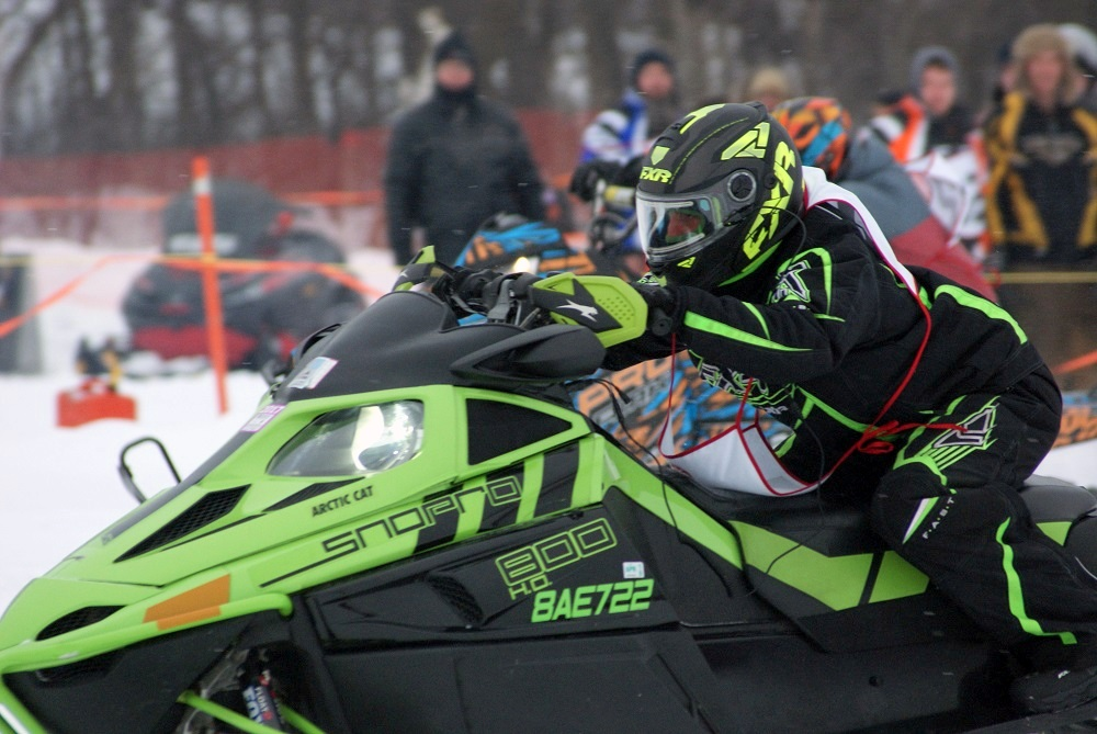 Snowmobile racing at the Osgoode Carleton event.